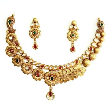 916 gold antique necklace set mga - gn020