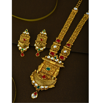 916 CZ Pure Gold Antique Long Necklace Set