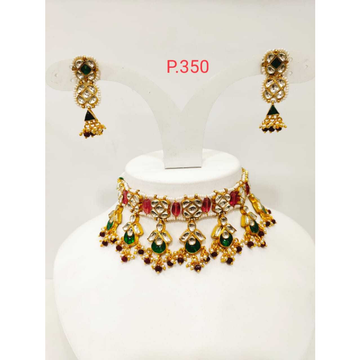 pink & Green Stone Kundan Choker Set With Pearl 1183