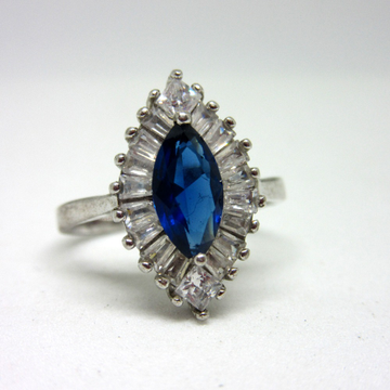 Silver 925 marquise shape blue stone ring sr925-17... by