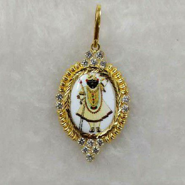 22KT Gold Shrinathji Photo Pendant