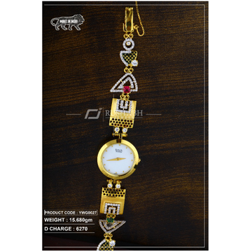 18 carat gold ladies gold watch titan raga ywg0027