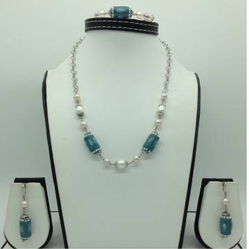 Freshwater White,Pink Pearls and Turquoise Silver...