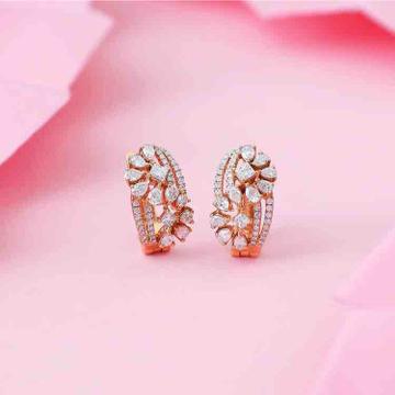 18KT Rose Gold Modern Designer Real Diamond Earring