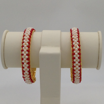 White Seed Pearls And Corals Jali Bangles JBG0060