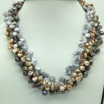 Multicolour KudkalPearls 3Layers Twisted Necklac...