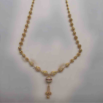 22ct gold 916 fancy stone mala by D.M. Jewellers