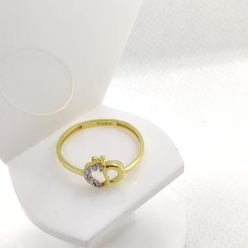 22KT Yellow Gold Apple Shape Fancy Cz Stone Ring For Women