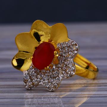 916 Gold Ladies Classic Long Ring LLR221