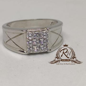 92.5  silver square daimond geants Ring Rh-Gr945