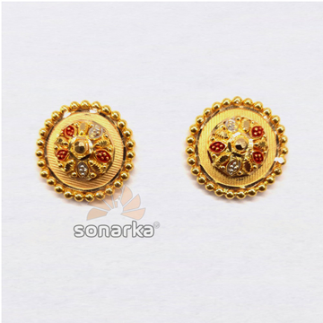 916 Plain Gold Meenakari Earrings For Ladies