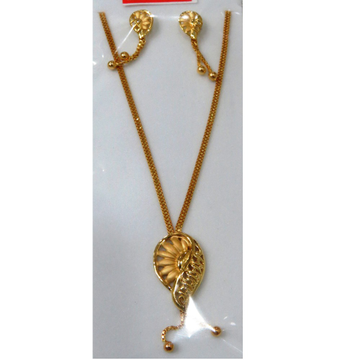 22kt Gold Cz Casting chain pendant Set by