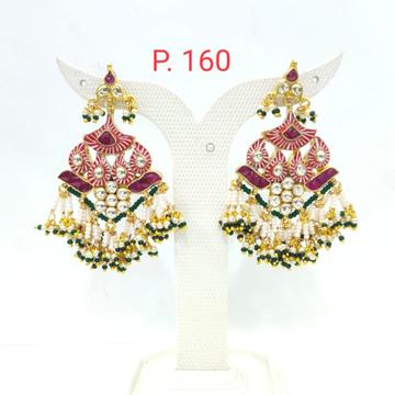 Kuiri shape kundan with red color & hanging pearl long earring 1627