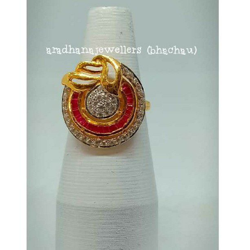 916 Gold Party Wear Colorful Ring