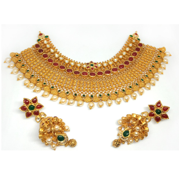 916 Gold Traditional Choker Necklace Set - LJ-1