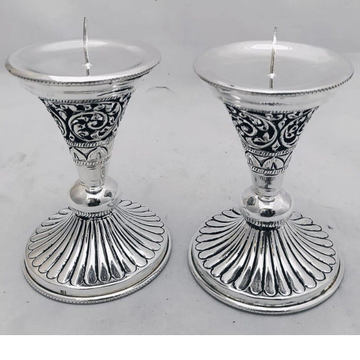 Pure Silver Candle Stand In Fine Antique Carvings... by Puran Ornaments