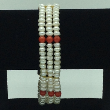White Flat Pearls With Coral Beeds 3 Layers Bracelet JBG0204