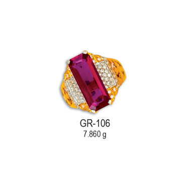 22KT-CZ-Gold-Attractive-Pink-Stone-Gents-Ring-GR-106