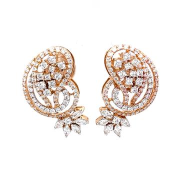 Étourdissante designer diamond earrings in 18k ros...