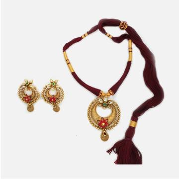 22KT Gold Antique Bridal Necklace Set RHJ-4826