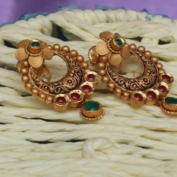 22 Kt Gold Moon Design  kundan Red Green & White light oxidised Antique Earrings For Women