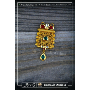 Antique Jadtar Mangalsutra Pendant with Green White Kundan Combination.