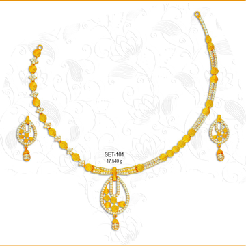 916 Gold Fancy CZ Ladies Necklace Set-101