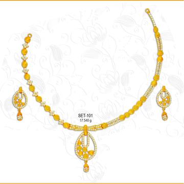 916 Gold Fancy CZ Ladies Necklace Set-101