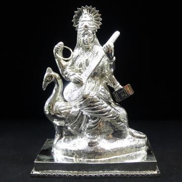 silver maa saraswati murti by