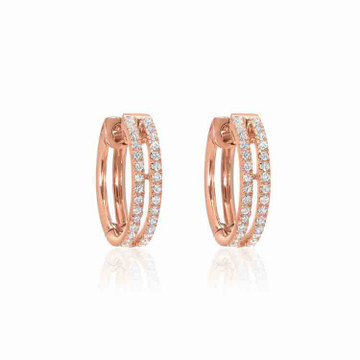 18KT Rose Gold Modern Designer Diamond Earring