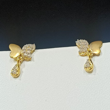18CT Hallmark Butterfly Design Gold Earring  by