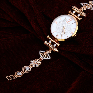 Ladies Gold Cz 18K Rose Watch-RLW74
