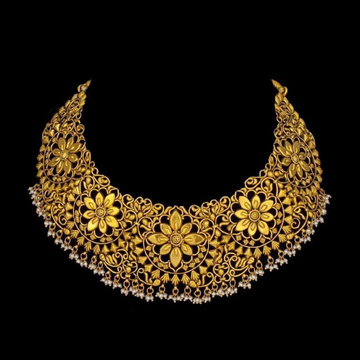 22KT Gold Choker Set With Culture Pearl Beads For Bride