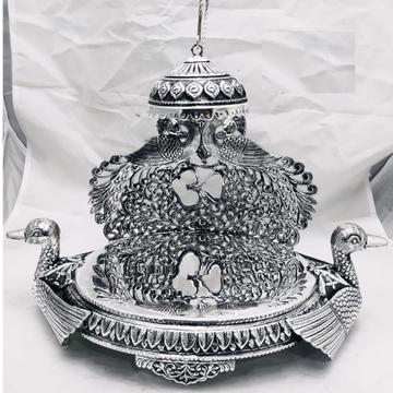 925 pure silver antique singhasan with rajhans & p...