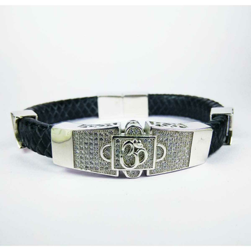 Fancy 925 Silver Gents Black Leather Om Bracelet