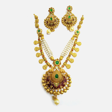 916 Gold Antique Bridal Necklace Set RHJ-4691