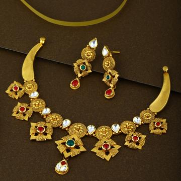 916 CZ Gold Trendy Necklace Set
