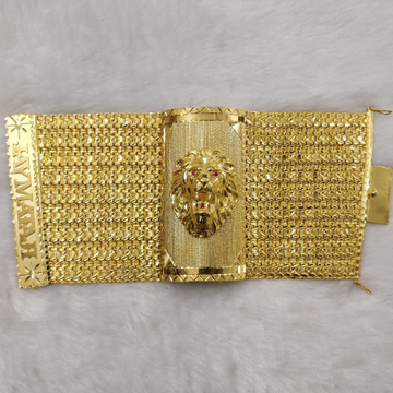 916 Gold Fancy Lion Face Bracelet For Men
