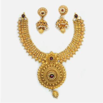 916 Gold Traditional Bridal Necklace Set RHJ-6040