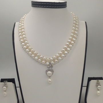 WhiteCZ And Pearl PendentSet With 2Line ButtonJali Pearls Mala JPS0385