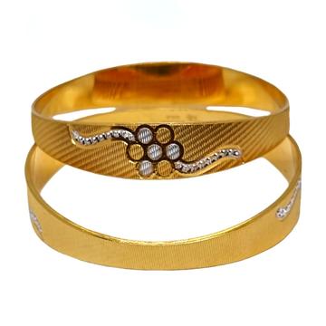 One Gram Gold Forming Flower Shaped Designer Bangles MGA - BGE0492