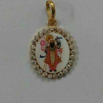916 Gold Shrinathji Photo Diamond Pendant