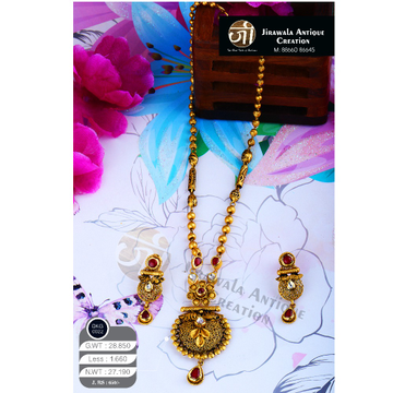 916 Gold Antique Long Necklace Set DKG-0022