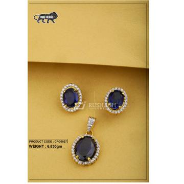 22 carat 916 gold  ladies Blue colour stone pendent set cpg0027
