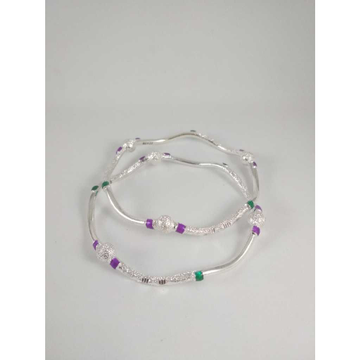 Silver Fancy Zig Zag Bangles. NJ-B01055
