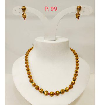 Antique gold plated bead mala necklace set with earring for women 1295