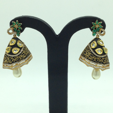White and Green CZ Stones Ear Jhumki JER0056