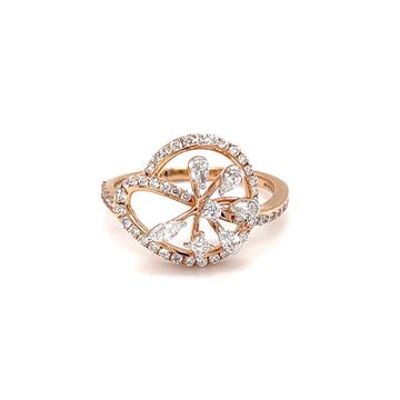 Princess marquise pear & round diamond ladies ring