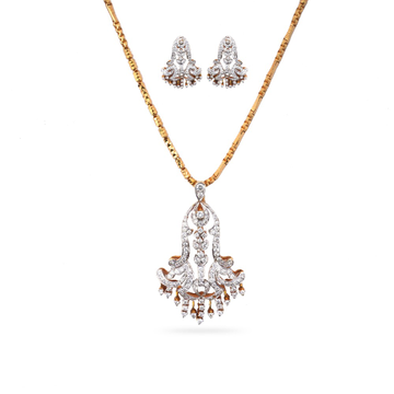 22K Gold Designer Diamond Pendant Set by