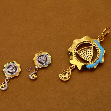 916 Gold Cz Fancy Pendant Set FPS170